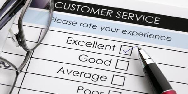 Customer Service rate card with excellent, good, average and poor as ratings.