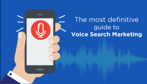 A mobile screen showing Voice Recording feature and text as The most definitive guide to Voice Search Marketing.